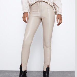 Zara Faux Leather Beige Leggings w/ Front Zipper